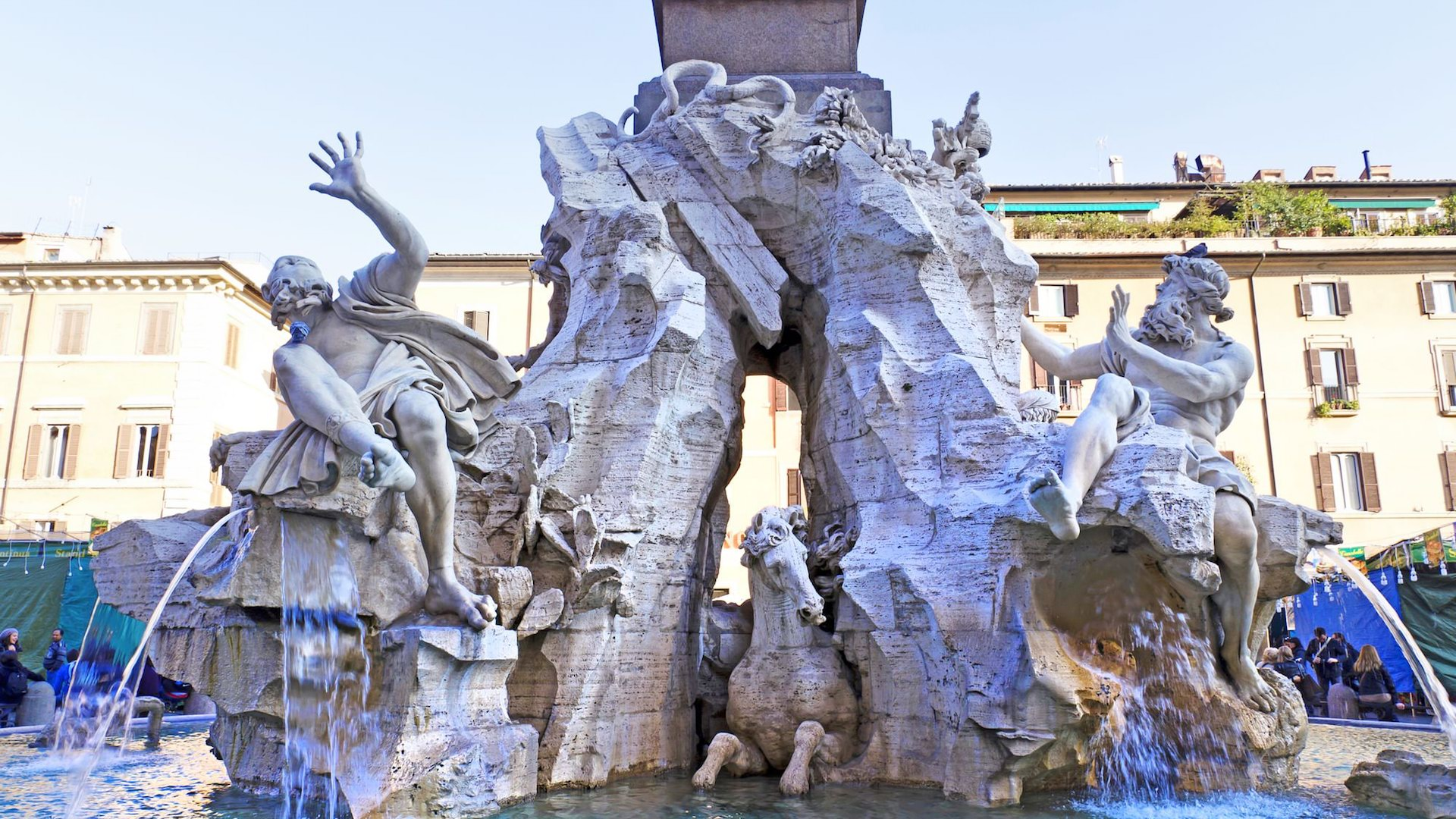 Rome, Italy. Fountain of the Four Rivers (Fontana dei Quattro Fiumi) with an Egyptian obelisk. Piazza Navona is one of the most famous squares of Rome
