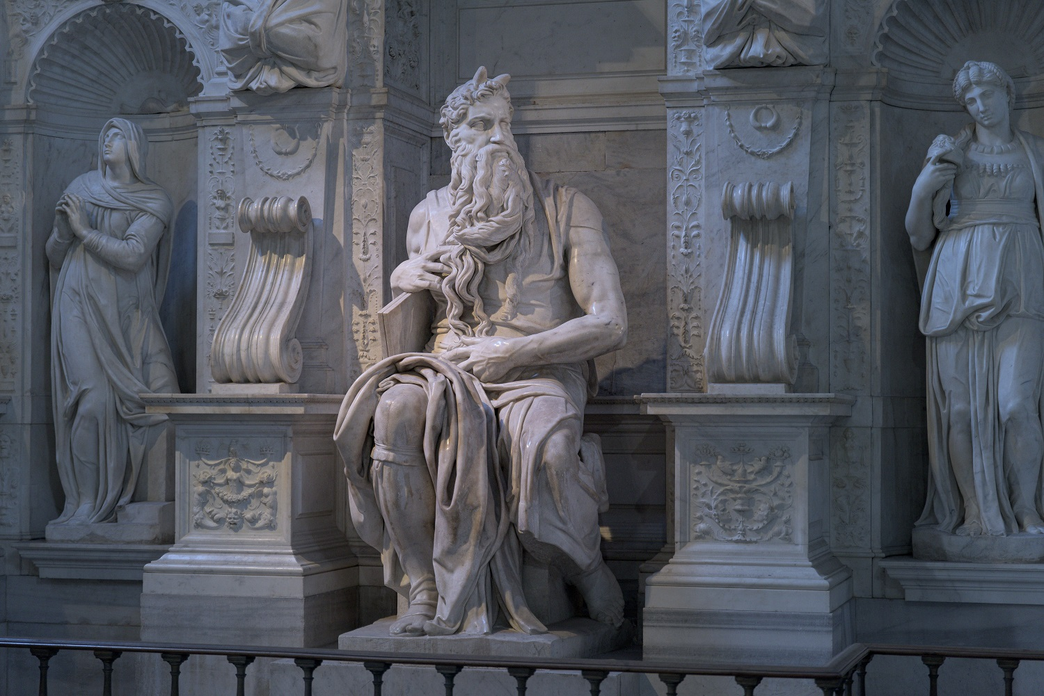 Moses sculpture by Michelangelo in San Petrio in Vincoli, Rome, Italy