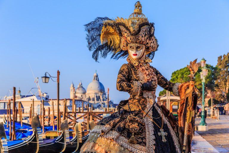 Venice, Italy , carnival of Venice, beautiful mask at St. Mark's Square.